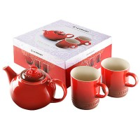Teapot tea for two + cherry 2 cups Le Creuset