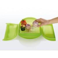 Green steam case + tray 3-4 people Lékué