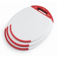 Oval polyethylene cutting board (27 x 23 x 1 cm)