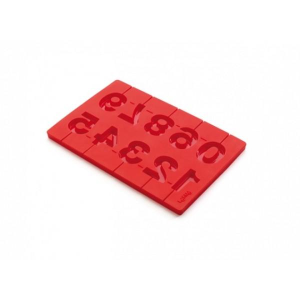 Molde piruletas números 3D rojo Lékué