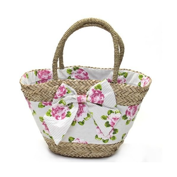 Peony stripe seagrass market & beach bag