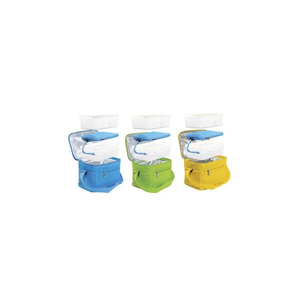 Bolsa térmica con gel refrigerante coolbag + 2 tuppers varios colores