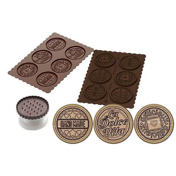 Stampo cioccolato in silicone Dolce Vita biscotto con libro di ricette Silikomart