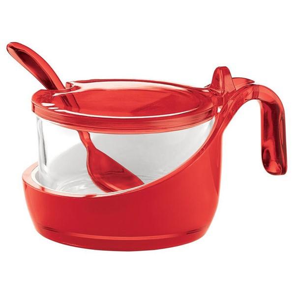 Zuccheriera bicolor rosso con cucchiaino Guzzini