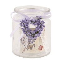 Vaso cristal lavanda y puntilla Tea light