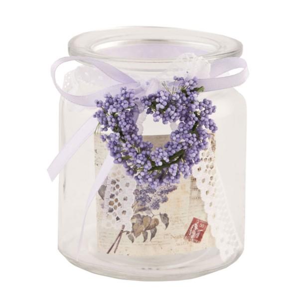Vaso cristal lavanda y puntilla Tea light