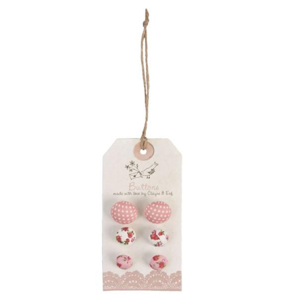 Botones decorativos de Tela rosa y estampado (6 unidades)