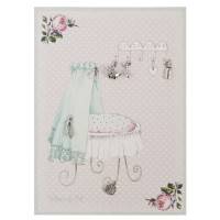 Card with 5 charms 13x18 cm silver colour