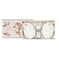 Caja fragancia natural Rosas con medallones de ángeles