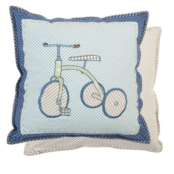 Cojín cuadritos azules triciclo