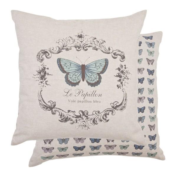 Cojín mariposa azul