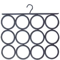Grey ties and scarves hook 12 circles