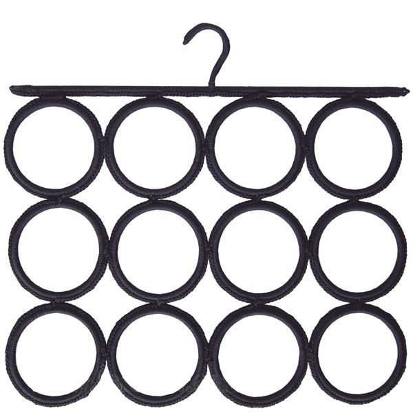 Black ties and scarves hook 12 circles