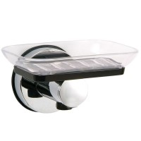 Stainless steel soap dish with suction cup