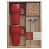 Set regalo 2 tazas rojas + 2 cucharas + 2 Posavasos bambú