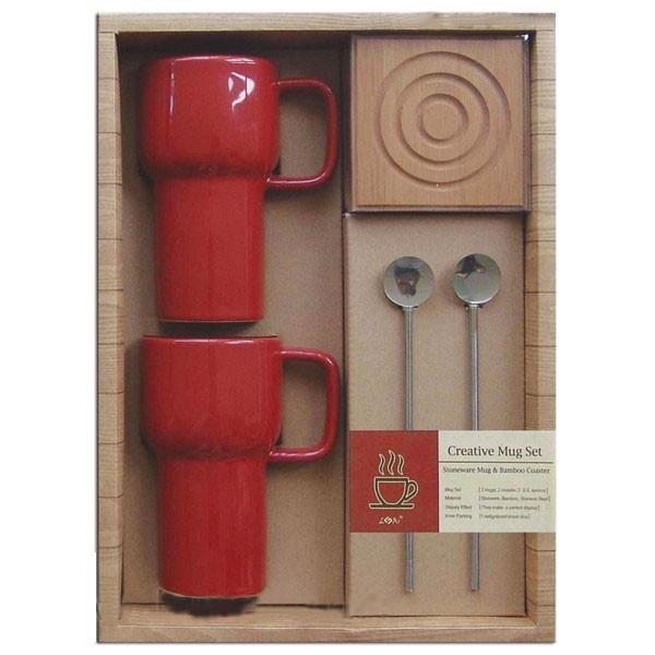 Set 2 tasses + 2 Cuillère inox + Coeur bamboo