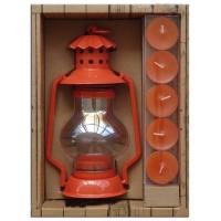 Set regalo linterna portavelas naranja