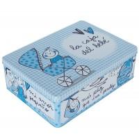 """Boîte en métal bleu """"La caja del bebe"""""""