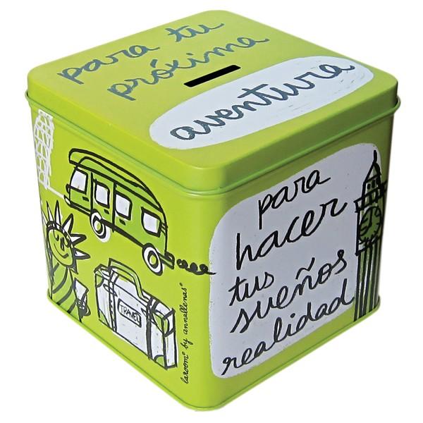Caja metálica/Hucha verde Para tu próxima aventura