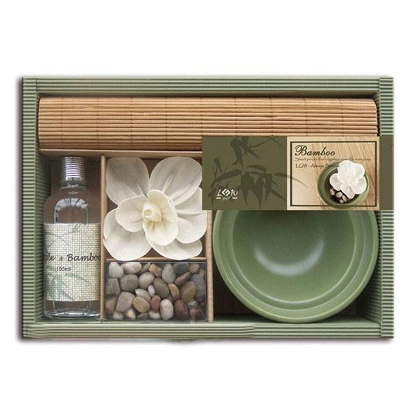 Set regalo aromático aceite bambú con flor difusora