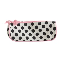 Beige cosmetics bag with polka dots