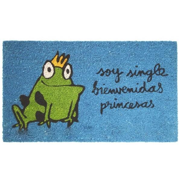 """Felpudo azul con frase """"Soy single, bienvenidas princesas"""" 70x40cm"""