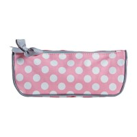 Pink cosmetics bag with polka dots