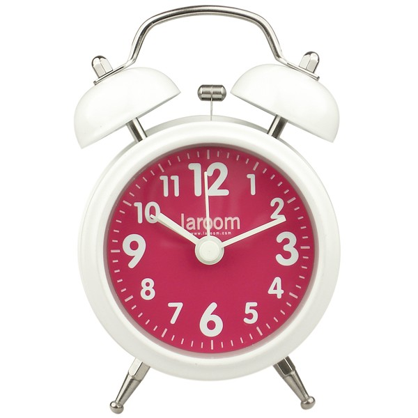 Reloj despertador vintage blanco y fucsia 7,4x5xh12cm