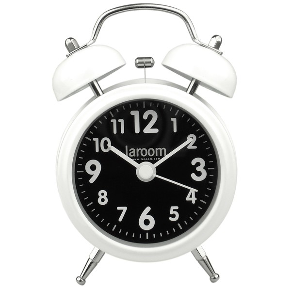White and black alarm clock