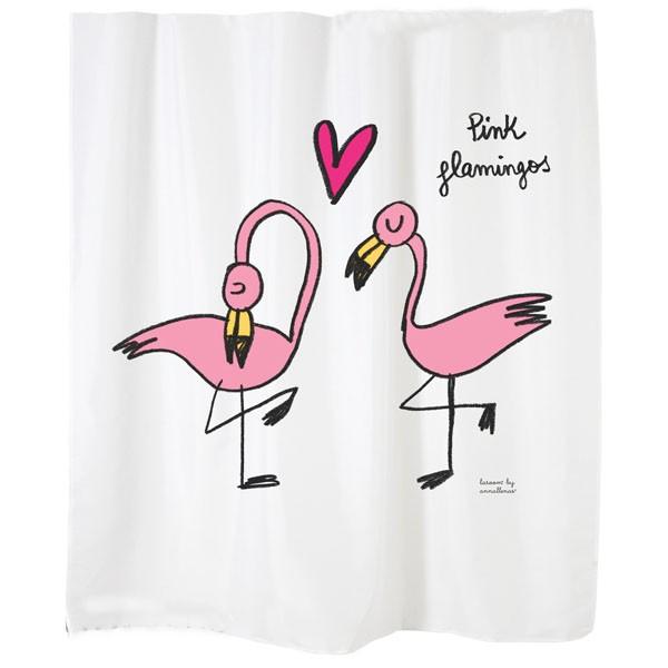 "Cortina de baño blanca ""Pink flamingos"""