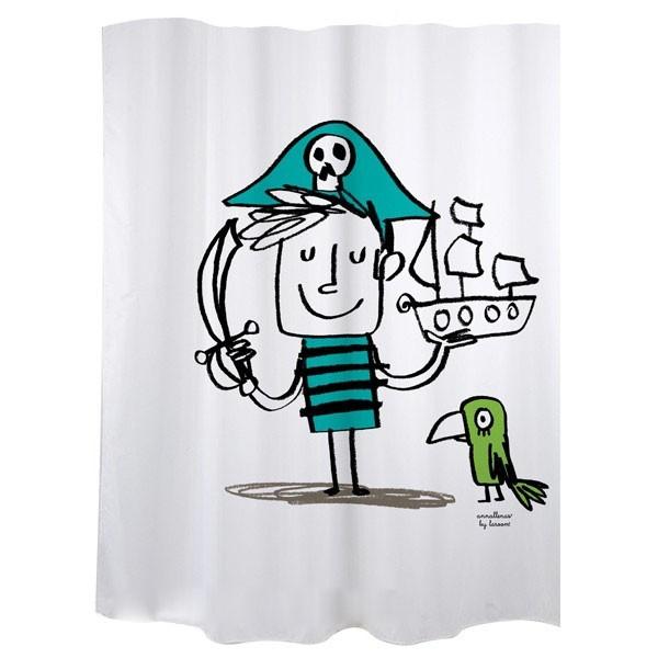 """Cortina de baño blanca """"Pirata"""""""
