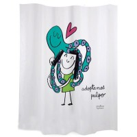 "White shower curtains ""Adoptamos pulpo"""