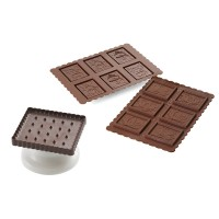 Chocolat cookie silicone mold + square cookies cutter Christmas Silikomart