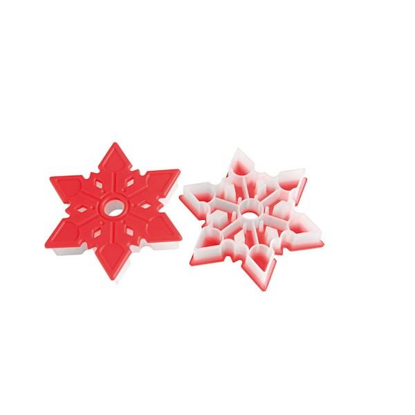 Cortador galletas copo de nieve plástico rojo Silikomart