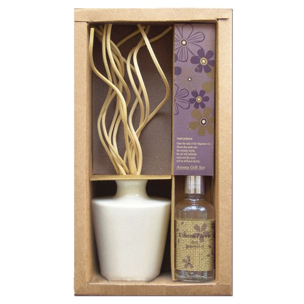 Set regalo aromático tarro cerámica + Difusor rizado + Aceite lavanda