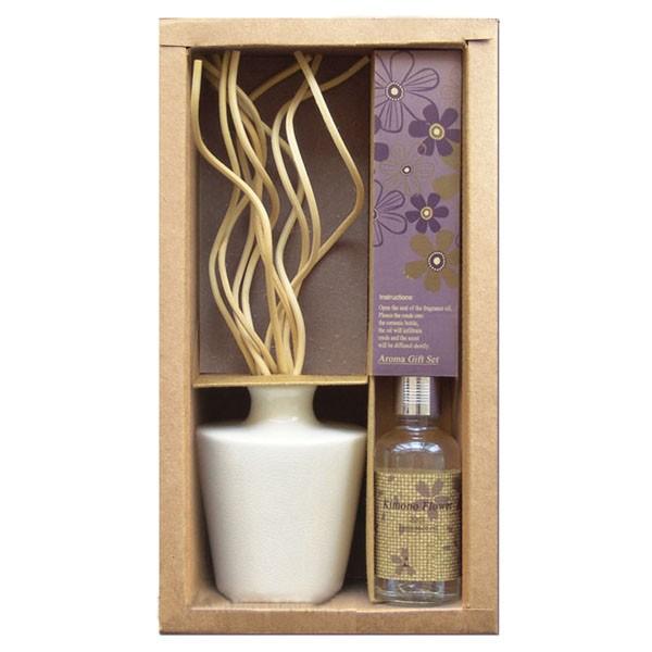 Set vaso di ceramica aromatico + Diffusore riccio + Olio di lavanda