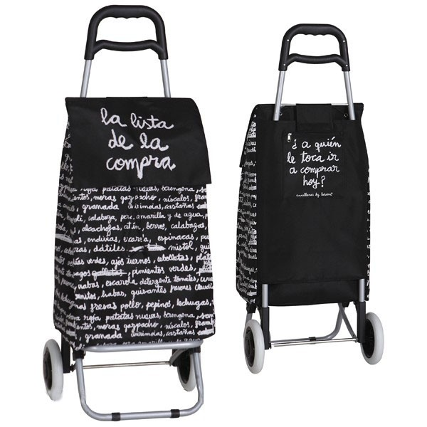 "Shopping trolley cart black 2 wheels ""Lista de la compra"""