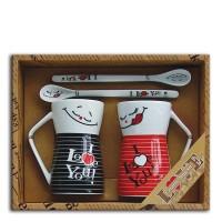 """Set 2 mugs + Ceramic spoons """"I love you"""""""