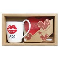 """Set mug + Cuillère en céramique+ Coeur caboteurs""""Mrs."""""""