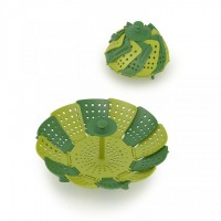 Green folding, non scratch steamer basket