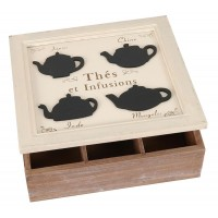 Wooden tea box 24x24x8 cm white