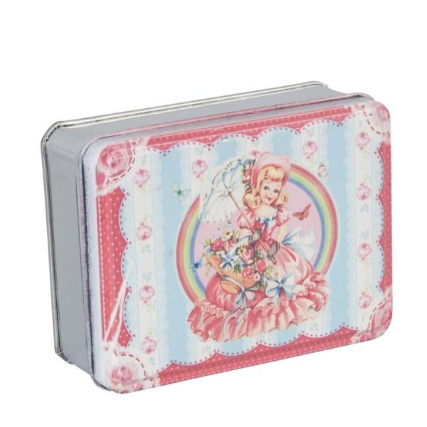 Scatola metallo vintage 10x8x3 cm rosa