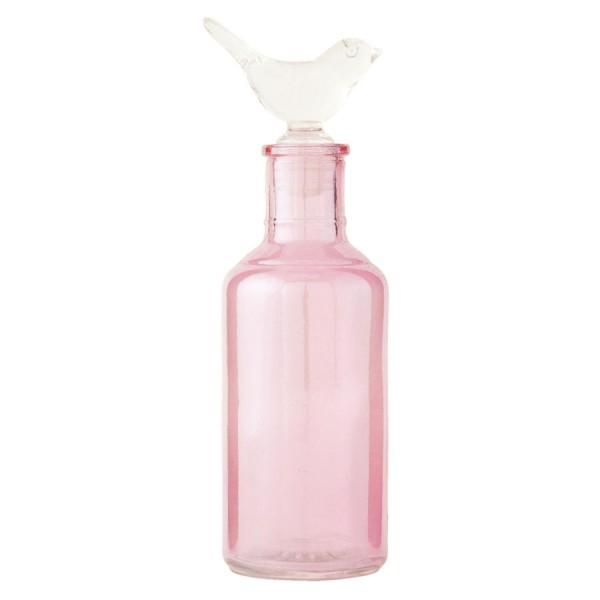 Botella cristal rosa Tapón pajarito