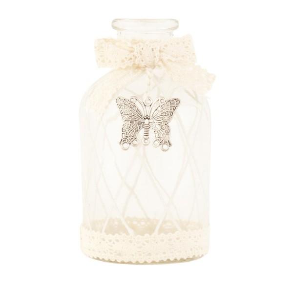 Botella cristal Crochet y mariposa metal