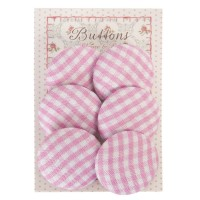 Botones decorativos de tela Cuadros rosas (6 unidades)