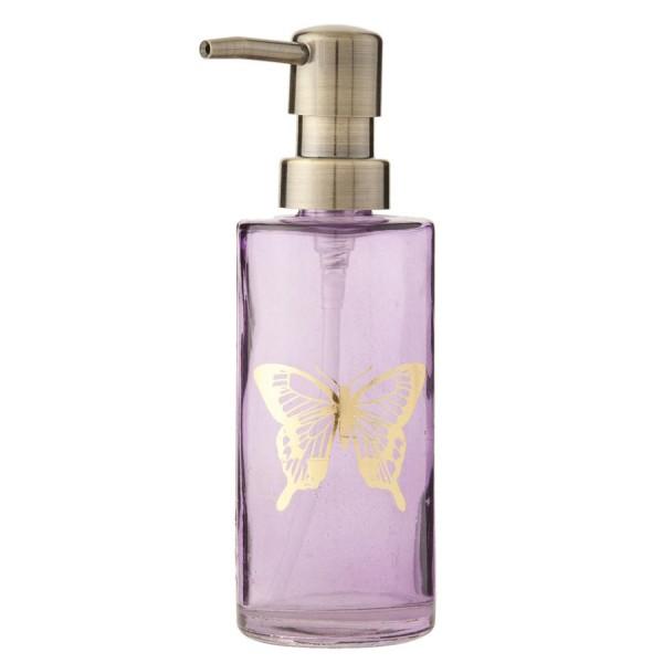 Dispensador cristal jabón baño morado mariposa