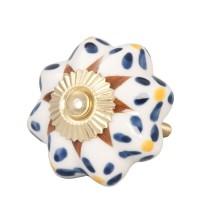Tirador antiguo porcelana flores azules