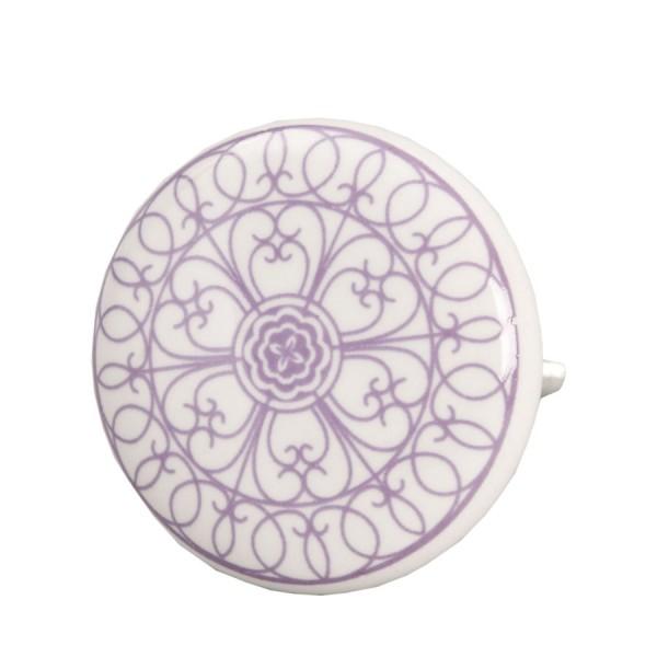 Tirador romántico porcelana redondo dibujo morado