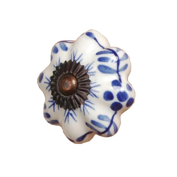 Tirador antiguo porcelana dibujo azul