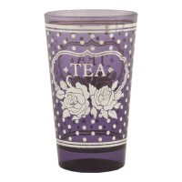 """Vaso cristal morado arabesco y lunares plateado """"Tea"""""""